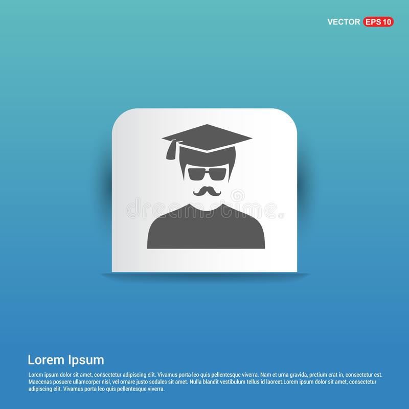 Bildungs-Benutzer-Ikone - blauer Aufkleberknopf lizenzfreie abbildung