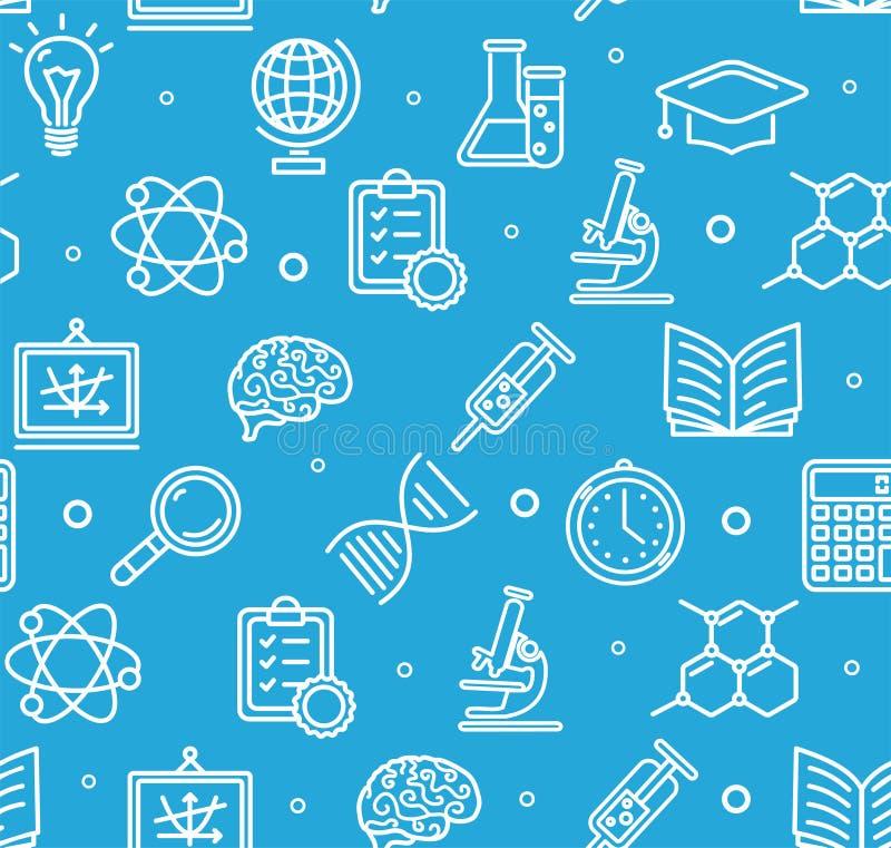 Bildungs-Chemie-Wissenschafts-Hintergrund-Muster Vektor vektor abbildung