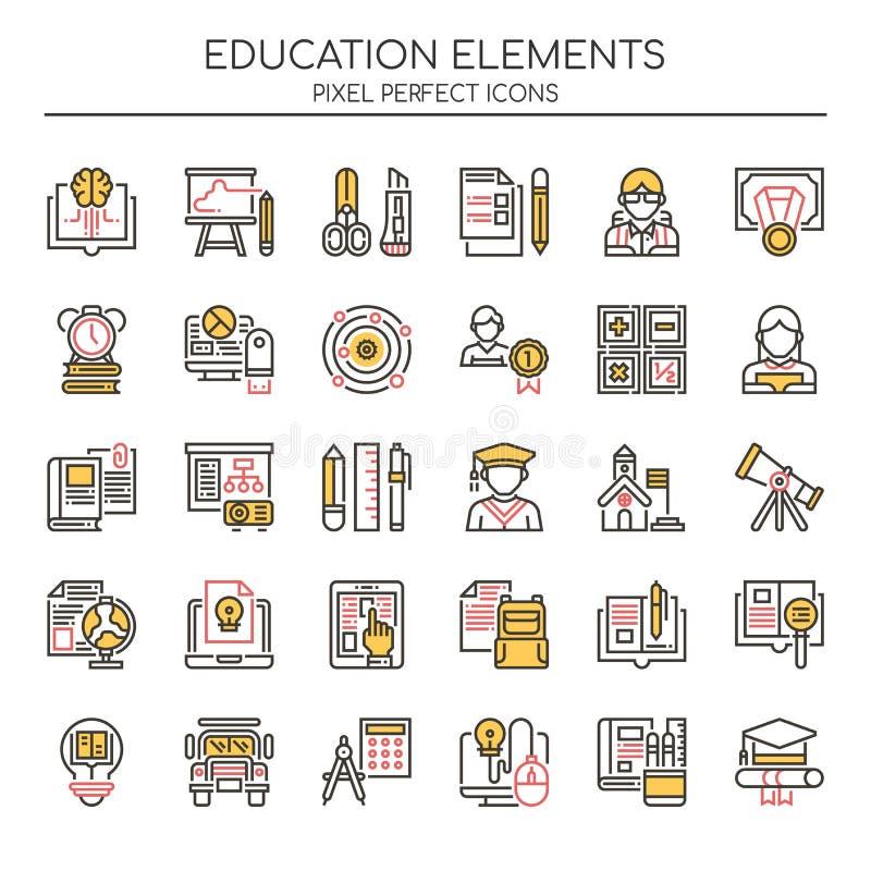 Bildungs-Elemente, dünne Linie und Pixel-perfekte Ikonen vektor abbildung