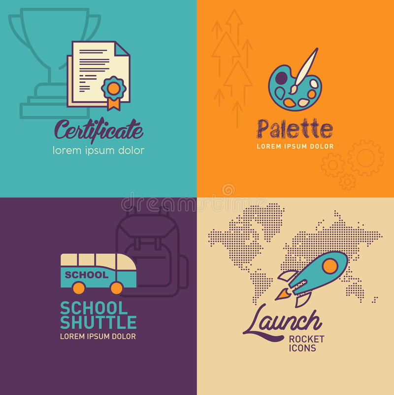 Bildungs-flache Ikonen, Zertifikatikone, Palettenikone, Schulbus, Raketenikone mit Weltkarteikone lizenzfreie abbildung