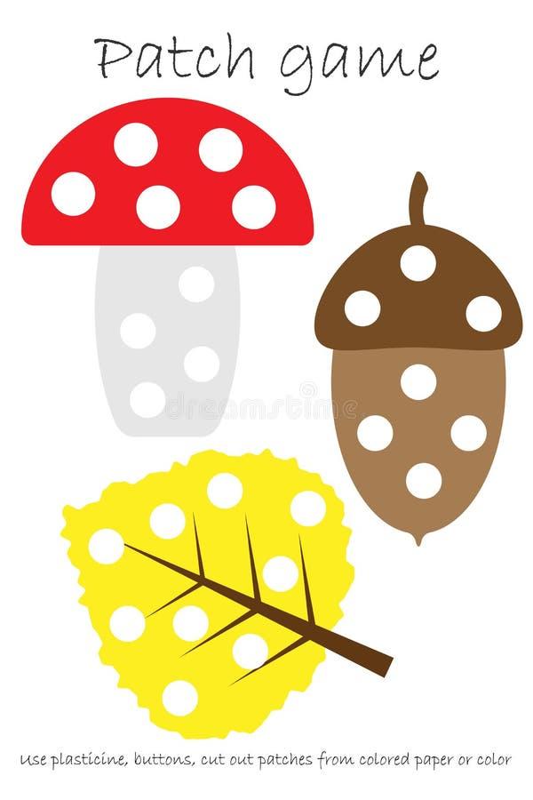 Bildungs-Fleckenspiel-Herbstbild, damit Kinder Bewegungsfähigkeiten, Gebrauch Plasticineflecken, Knöpfe, farbiges Papier oder Far vektor abbildung