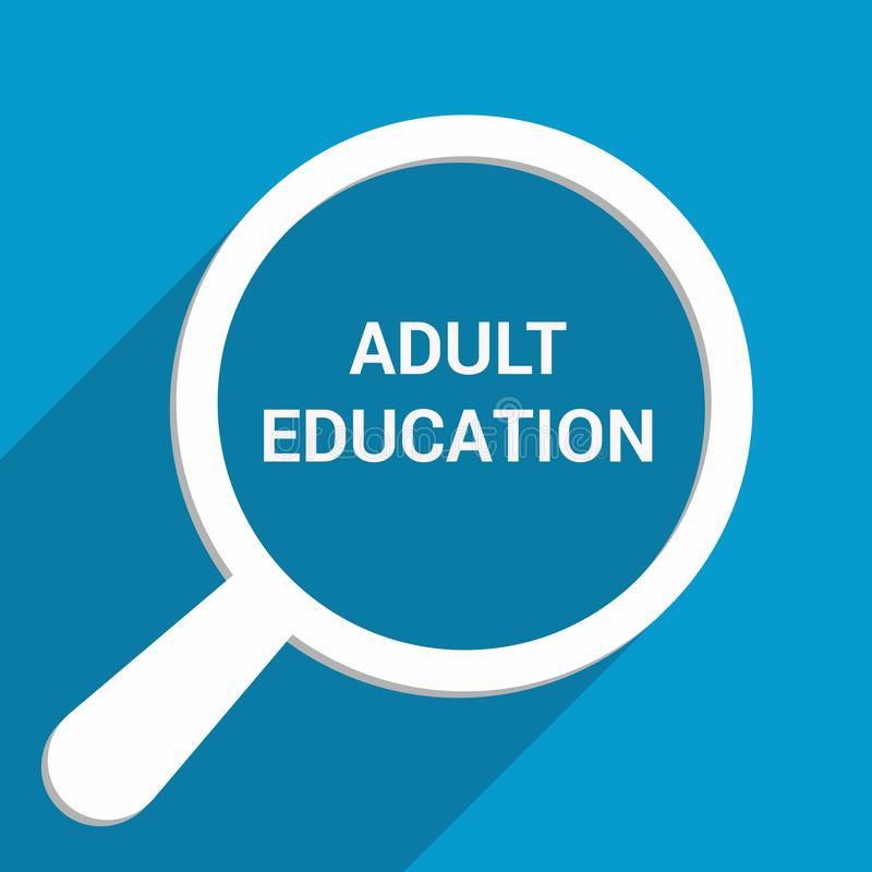 Bildungs-Konzept: Optisches Vergrößerungsglas mit Wort-Erwachsenenbildung lizenzfreie abbildung