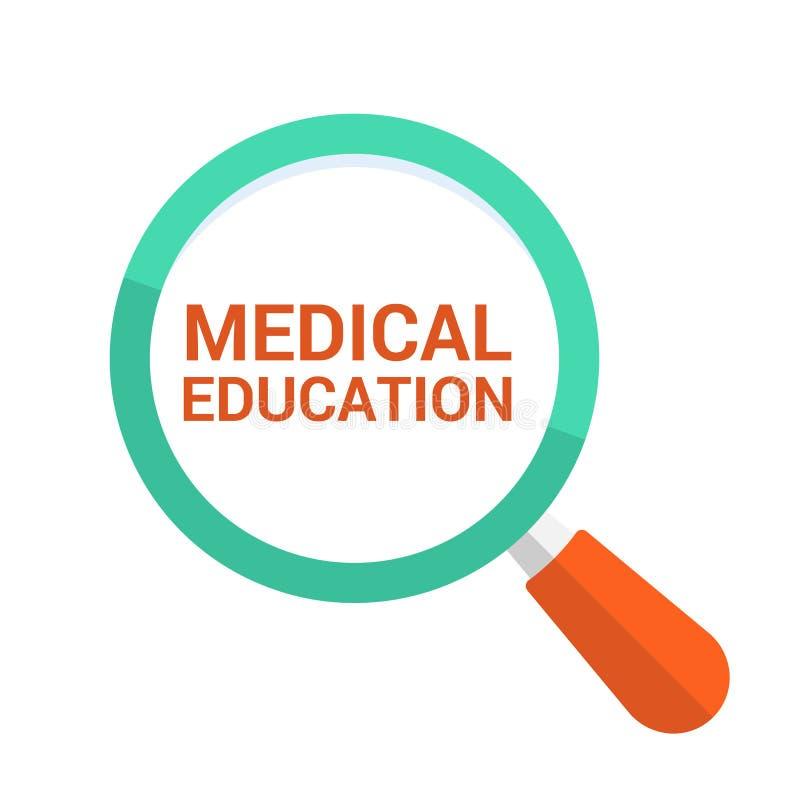Bildungs-Konzept: Optisches Vergrößerungsglas mit Wort-medizinischer Bildung vektor abbildung
