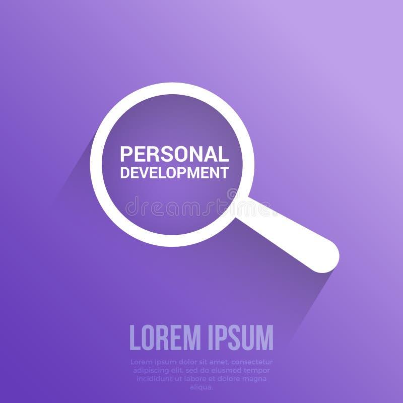 Bildungs-Konzept: Optisches Vergrößerungsglas mit Wort-persönlicher Entwicklung lizenzfreie abbildung