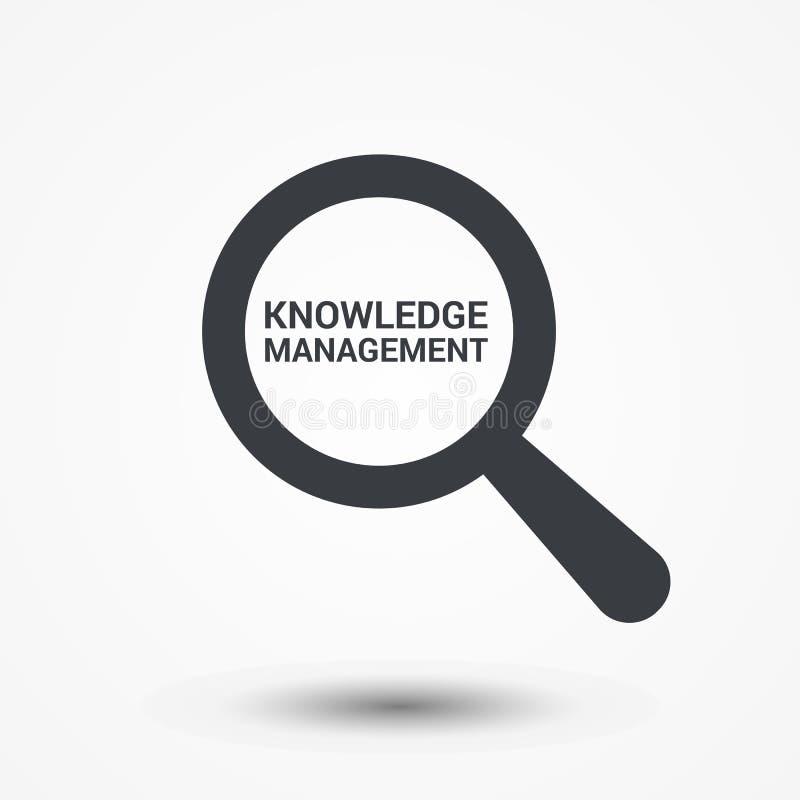 Bildungs-Konzept: Optisches Vergrößerungsglas mit Wort-Wissens-Management vektor abbildung