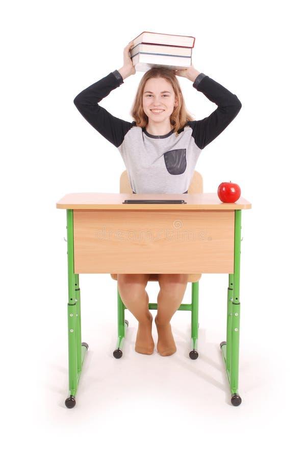 Bildungs-, Leute-, Jugendlich- und Schulkonzept - Jugendlichschulmädchen stockfoto