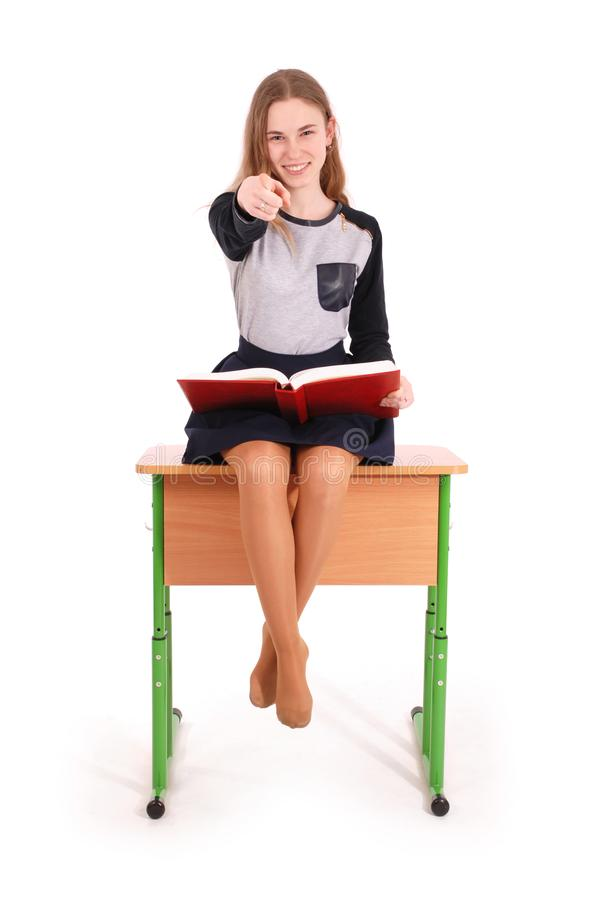 Bildungs-, Leute-, Jugendlich- und Schulkonzept - Jugendlichschulmädchen lizenzfreie stockbilder