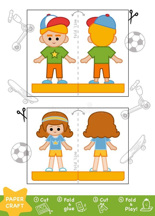 Bildungs-Papierhandwerk, sportlicher Schüler und Schulmädchen stock abbildung