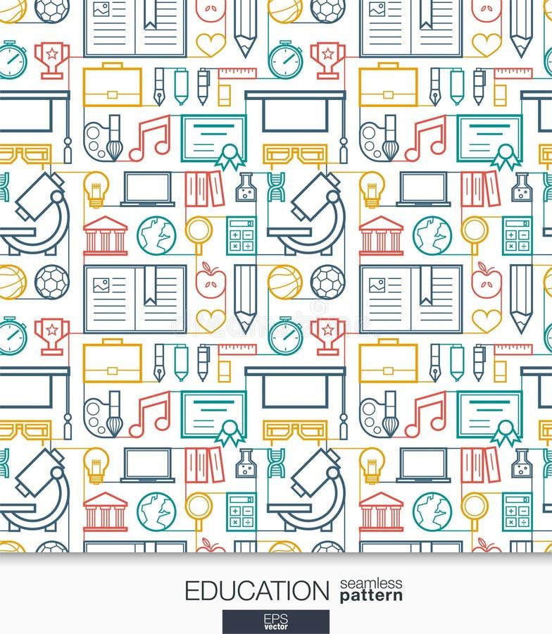 Bildungs-Tapete Schule und Universität verbundenes nahtloses Muster stock abbildung