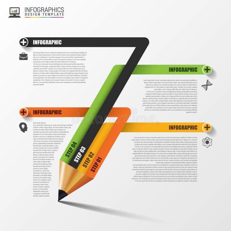 Bildungsbleistift Infographics Auslegungschablone Auch im corel abgehobenen Betrag stock abbildung
