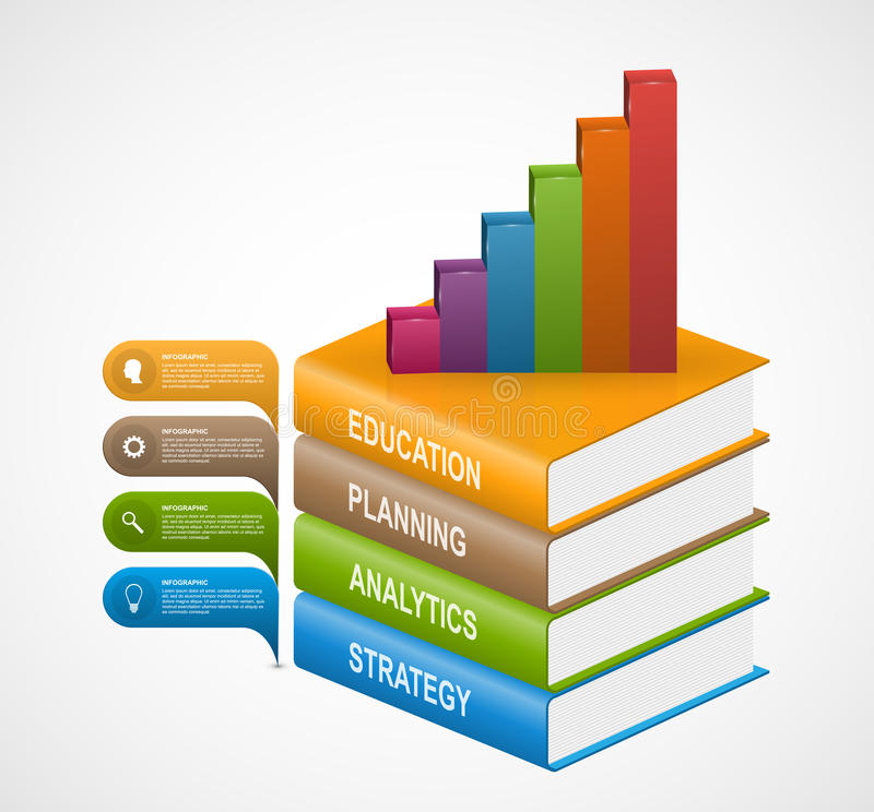 Bildungsbuchschrittwahl Infographics-Designschablone vektor abbildung