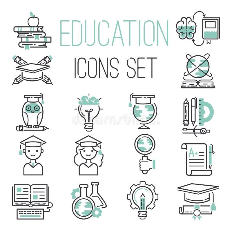 Bildungsentwurfsschwarz-Schulsymbol und grüne Ikonen eingestellter Zeichenstaffelungsabsolvent des Hochschulwissens dünner lernen lizenzfreie abbildung
