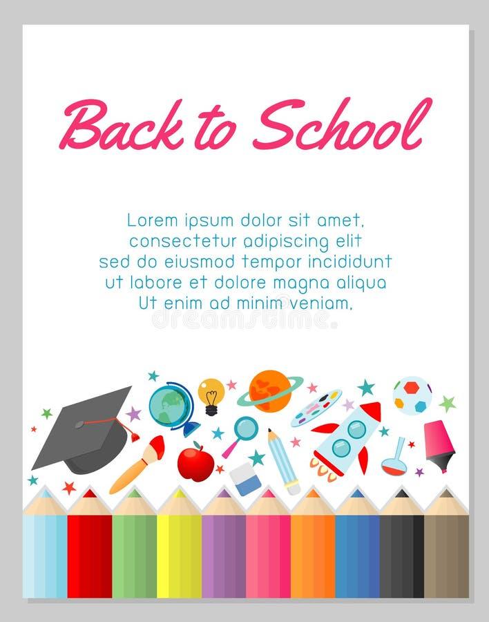 Bildungsgegenstand an zurück zu Schulhintergrund, zurück zu Schule, Bildungskonzept, Schablone für Werbungsbroschüre, Ihr Text vektor abbildung