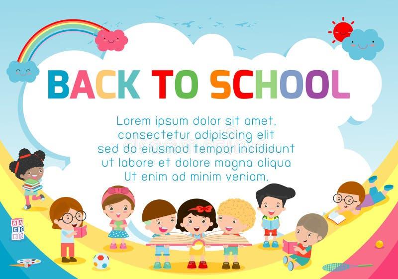Bildungsgegenstand an zurück zu Schulhintergrund, zurück zu Schule, scherzt das Springen, Bildungskonzept, Schablone für Werbungs vektor abbildung