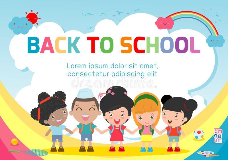 Bildungsgegenstand an zurück zu Schulhintergrund, zurück zu Schule, scherzt Händchenhalten, Bildungskonzept, Schablone stock abbildung