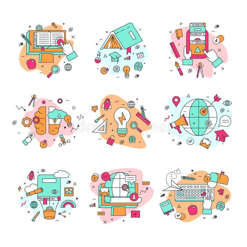 Bildungsikonen vector die Illustration, die Symbole des Schulungs- und Staffelungssatzes Schulwissenschaft pädagogisch und gelern vektor abbildung