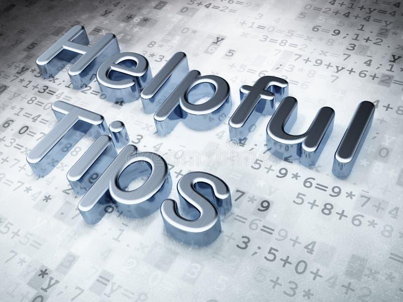 Bildungskonzept: Silberne hilfreiche Tipps auf digitalem Hintergrund lizenzfreie stockfotos