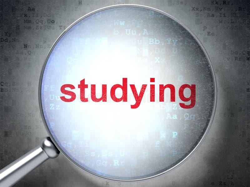 Bildungskonzept: Studieren mit optischem Glas lizenzfreie abbildung