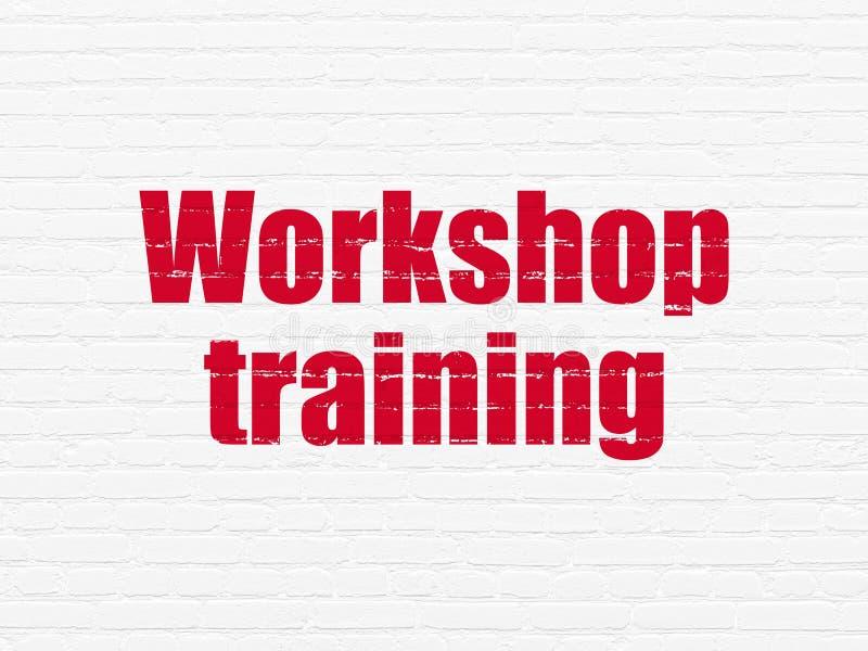 Bildungskonzept: Werkstatt-Training auf Wandhintergrund lizenzfreie abbildung
