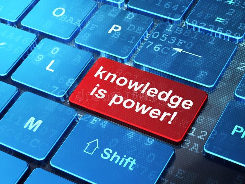 Bildungskonzept: Wissen ist Energie! auf Computertastaturrückseite stock abbildung