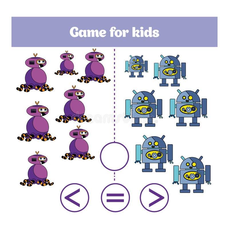 Bildungslogikspiel für Vorschulkinder Wählen Sie die korrekte Antwort Mehr, kleiner oder Gleichgestelltes? Vektorillustration The stock abbildung