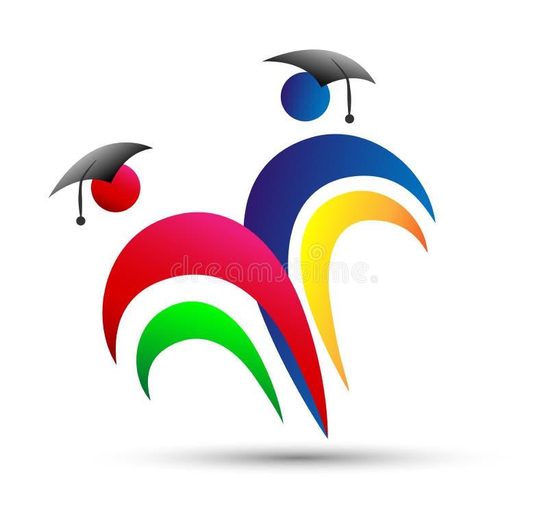 Bildungslogo, Leute, Feier, Studenten im Aufbaustudium, im Herzen formte Logo, die graduierte Bildung, Paarverbandslogo lizenzfreie abbildung