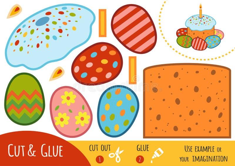 Bildungspapierspiel für Kinder, Ostern-Kuchen und farbige Eier lizenzfreie abbildung