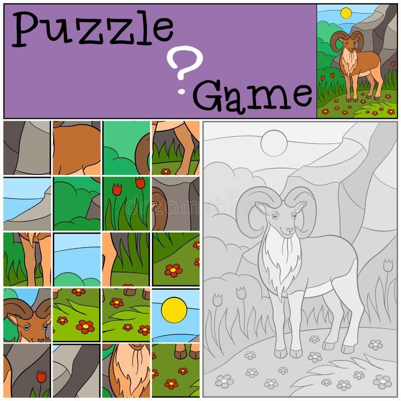 Bildungsspiel: Puzzlespiel Nettes schönes urial mit großen Hörnern stock abbildung