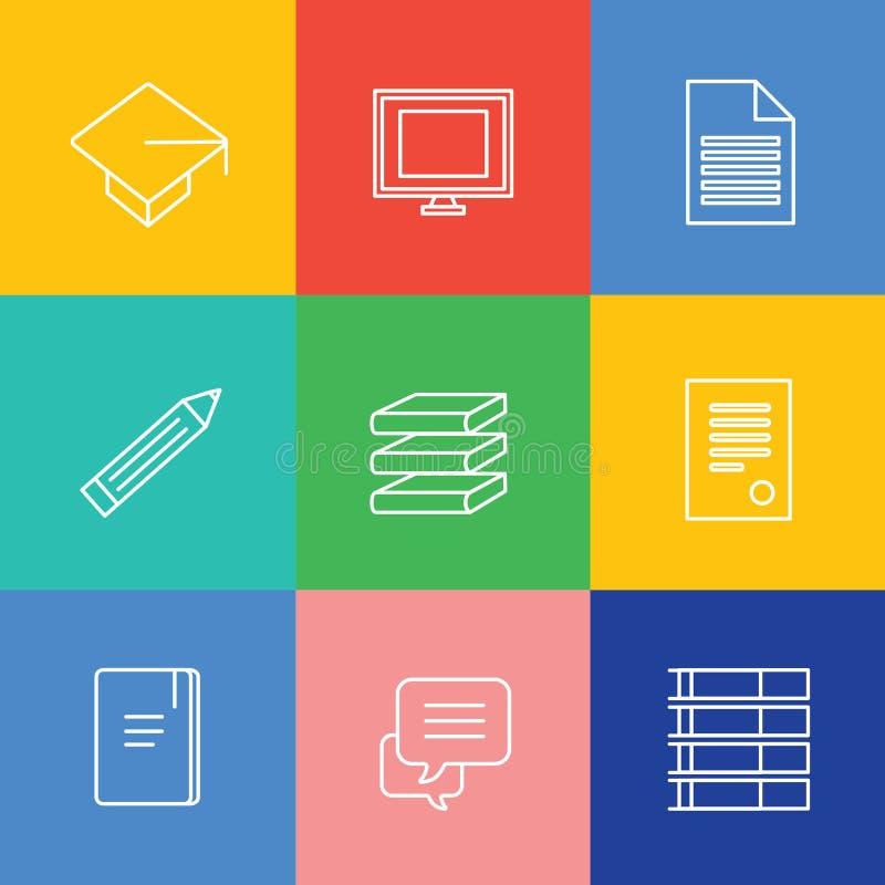 Bildungsvektor-Logoikonen eingestellt Staffelung lizenzfreie abbildung
