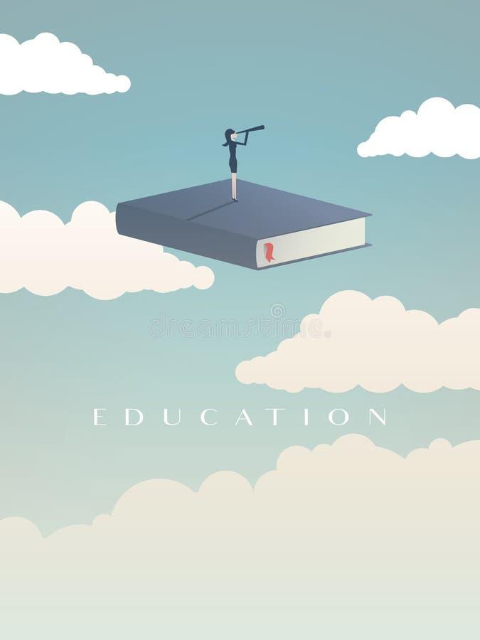 Bildungsvektorkonzept Geschäftsfrau oder Student, die auf dem Buch betrachtet Zukunft steht Symbol der Karriere, Job, Absolvent lizenzfreie abbildung