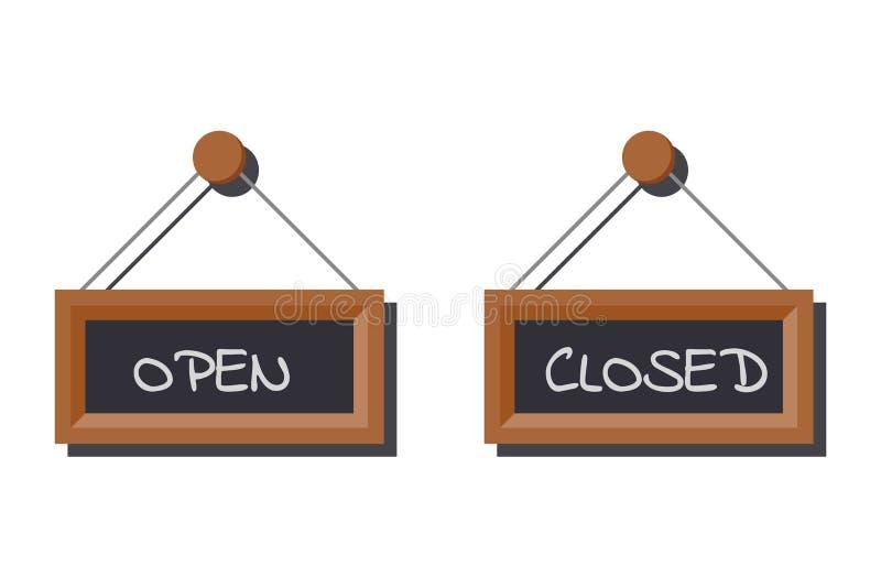 Bilduppsättningen av olikt öppet och stängt affärstecken kritiserar på brädet som är skriftligt i krita stock illustrationer