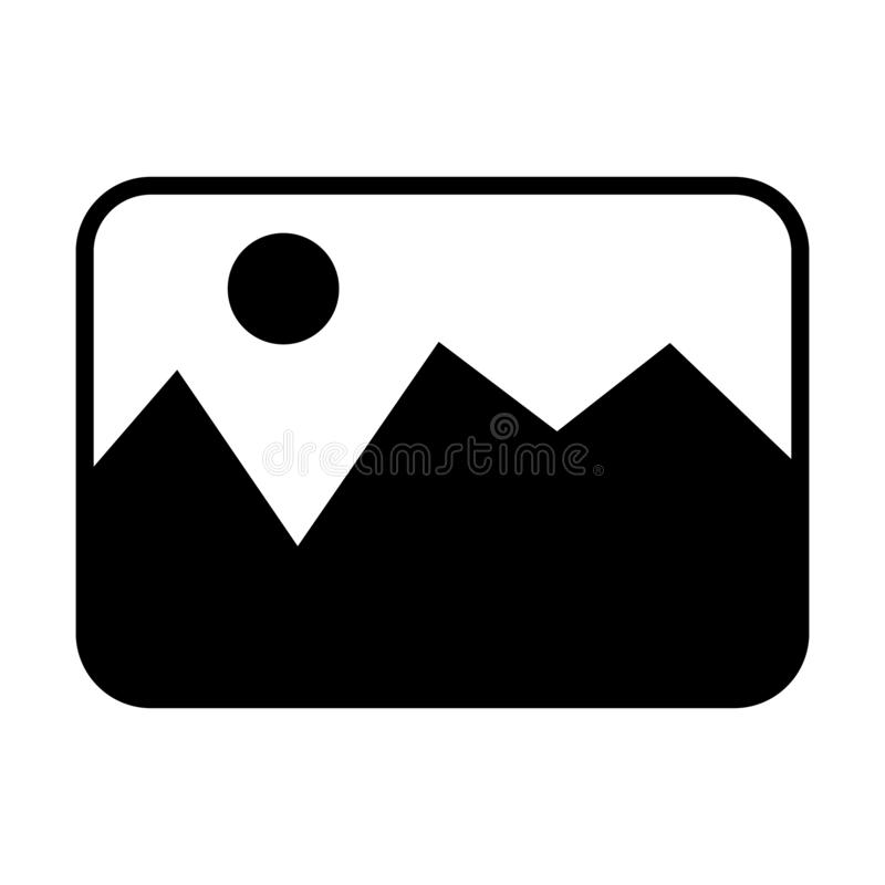 Bildvektorikone Fotoillustrationssymbol Bildlogo für Netz oder Mobile stock abbildung