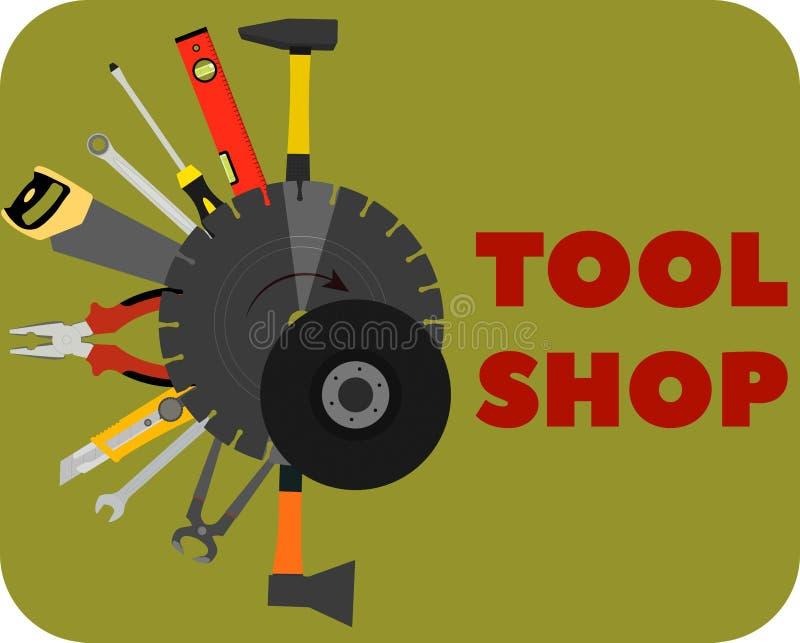 Bildwerkzeuge für Bau und Reparatur Werkzeugshop lizenzfreie abbildung