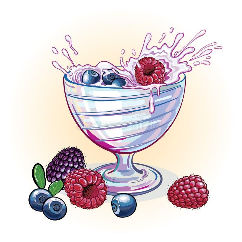 Bildyoghurt med bär vektor illustrationer