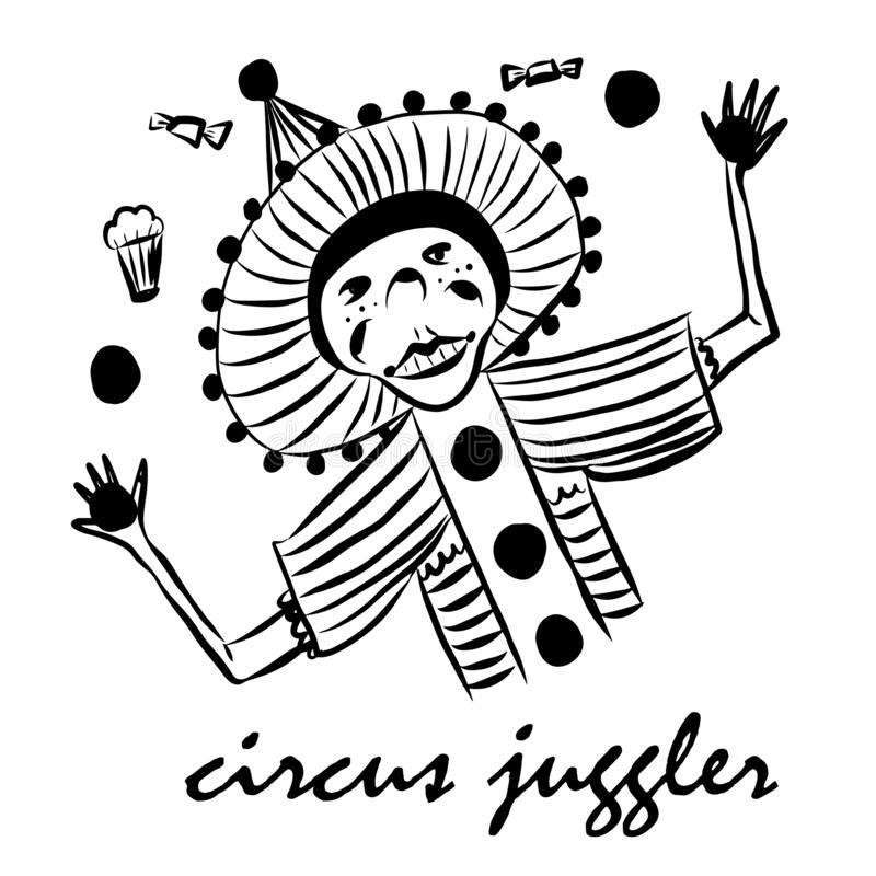 Bildzeichnungs-Clownjongleur in einem lustigen Anzug und in einem Hut mit Pompoms, jongliert mit köstlichem Lebensmittel, Skizze stockfotos