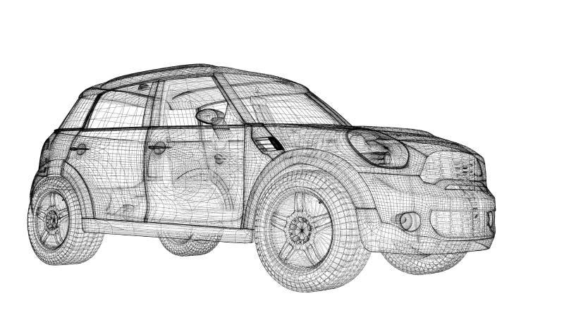 Bilen 3D modellerar vektor illustrationer
