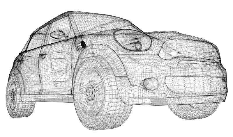 Bilen 3D modellerar royaltyfri illustrationer