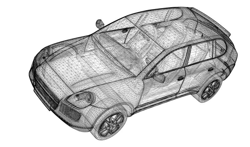 Bilen 3D modellerar stock illustrationer
