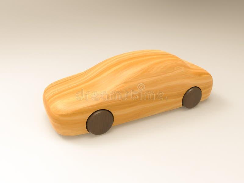 bilen för illustrationen 3D och för tolkningen 3D gjorde av trä på en vit bakgrund royaltyfri foto
