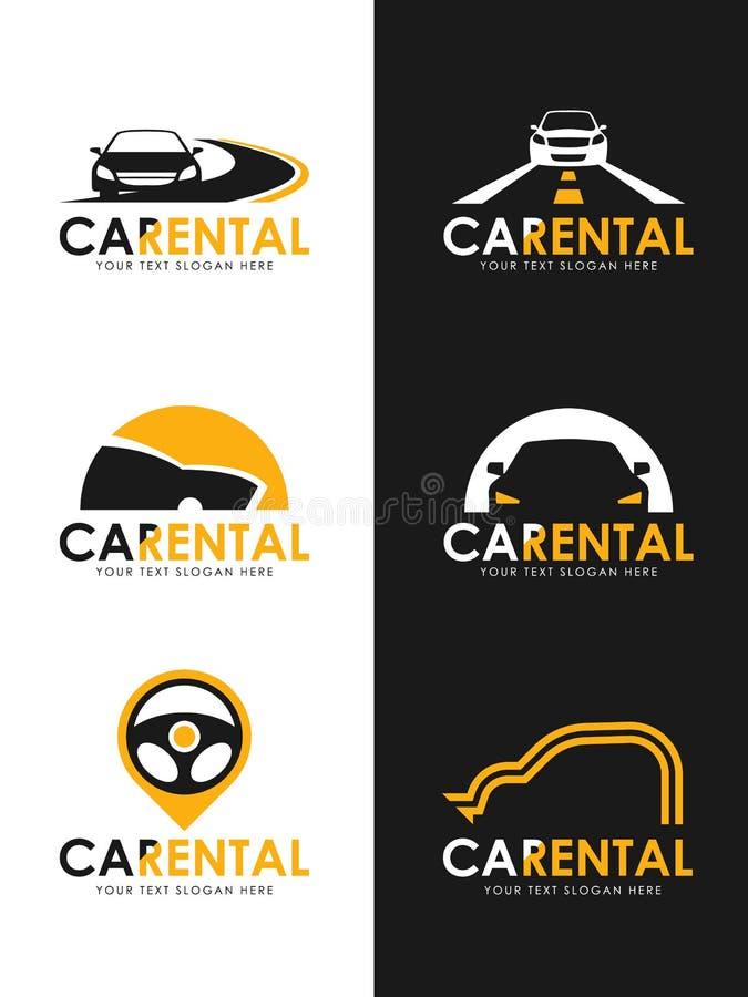 Bilen för svart och för guling för whit för tecken för logo för bilhyra, vägen och styrninghjulet undertecknar fastställd design  royaltyfri illustrationer