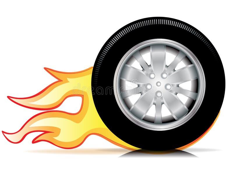 bilen flamm det enkla tracehjulet royaltyfri illustrationer