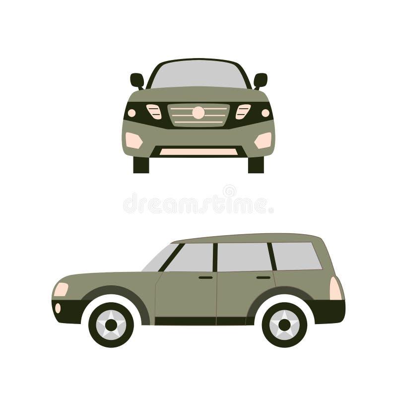 Bilen framme och på rätten Plan illustration för vektor royaltyfria bilder