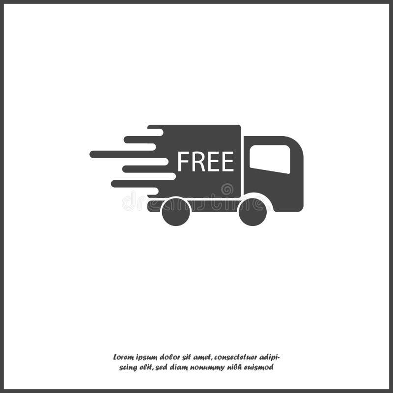 Bilen går på den hög hastigheten, vektorsymbol Ett symbol av den fria snabba leveransen av last av ett logistikföretag Affär stock illustrationer
