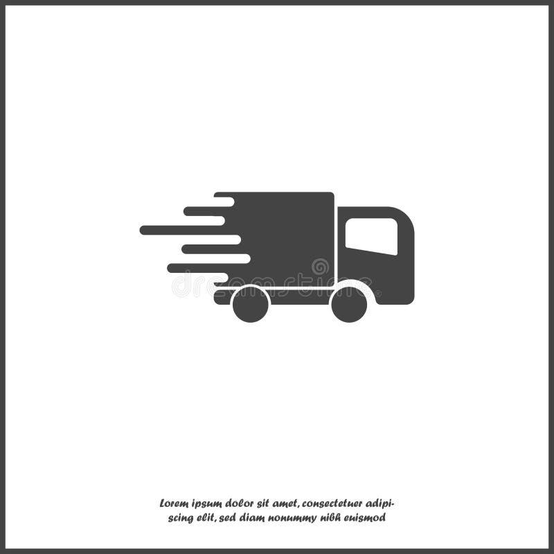 Bilen går på den hög hastigheten, vektorsymbol Ett symbol av den snabba leveransen av last av ett isolerat logistikföretag på vit stock illustrationer