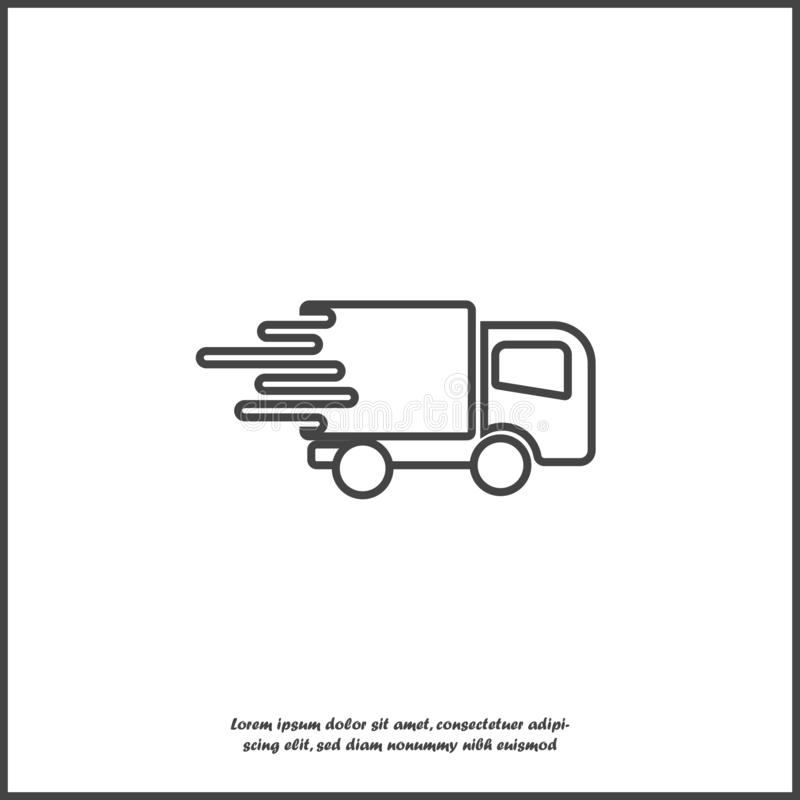 Bilen går på den hög hastigheten, vektorsymbol Ett symbol av den snabba leveransen av last av ett logistikföretag Affärsillustrat royaltyfri illustrationer