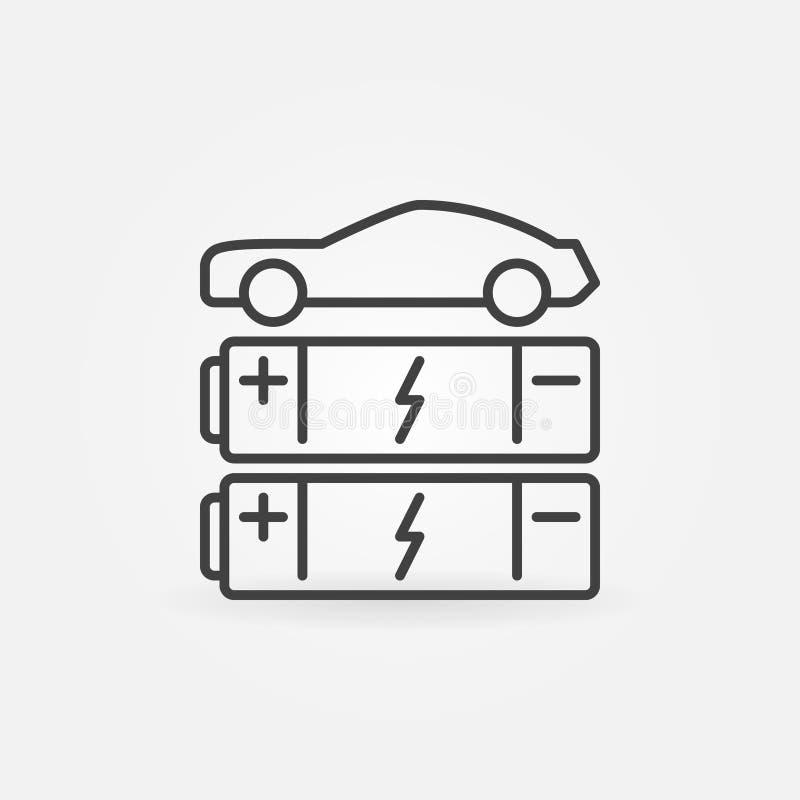 Bilen med batterier fodrar symbolen Begreppssymbol för vektor EV stock illustrationer