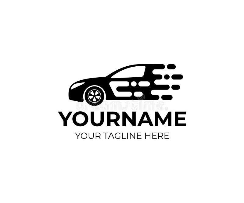 Bilen och sportmedlet rider på snabb logomall Den auto stilbilen och den automatiska ämnevektorn planlägger stock illustrationer