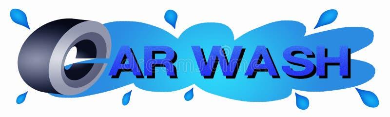 Bilen rullar med blått färgar av klistermärke för bilWash royaltyfri illustrationer