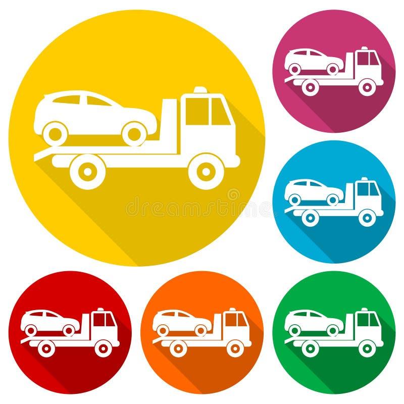 Bilen som bogserar lastbilsymboler, ställde in med lång skugga royaltyfri illustrationer