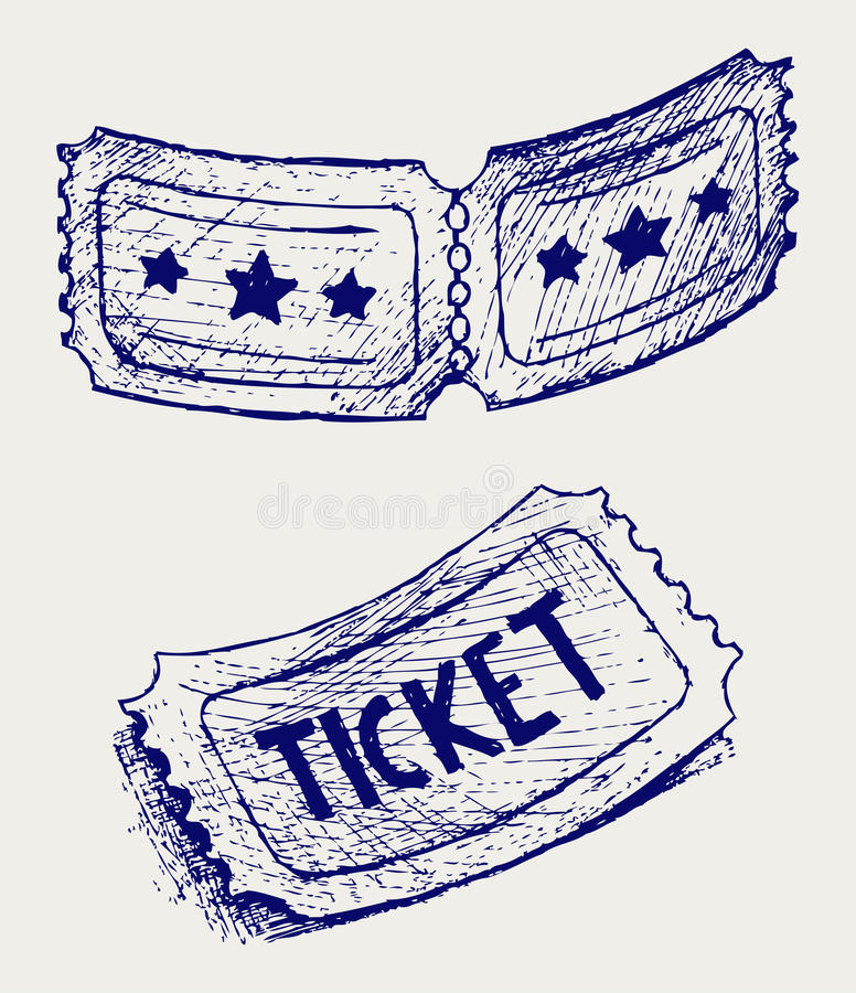 Bilet. Doodle styl ilustracji